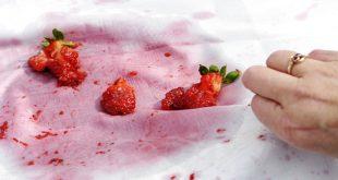 از بین بردن لکه قرمز توت فرنگی و آلبالو به چند روش از روی سطوح مختلف