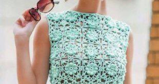 مدل شیک تاپ بافتنی دخترانه و سبزآبی
